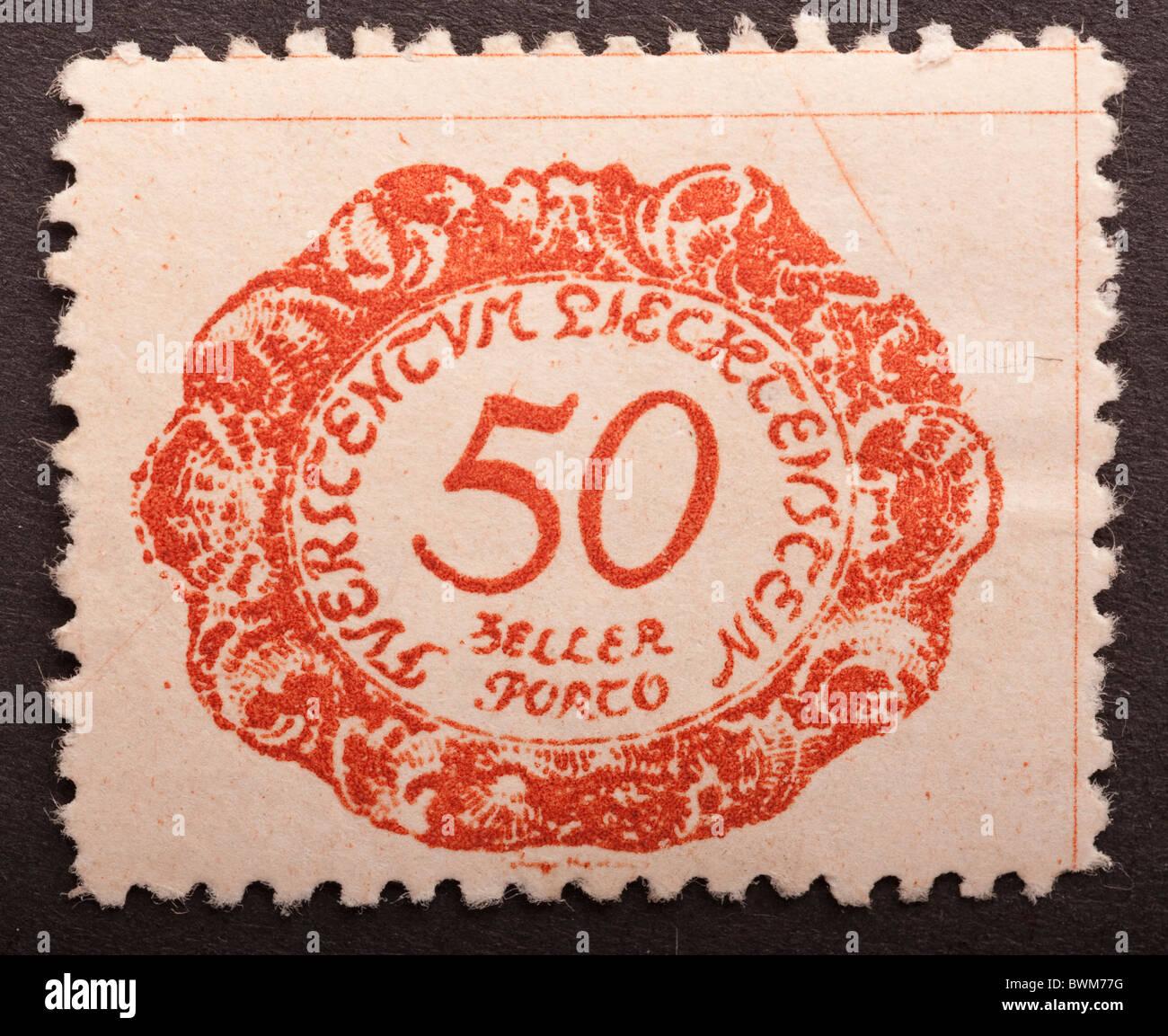 Liechtenstein Postage Due Stamp 50, circa 1920 Stock Photo