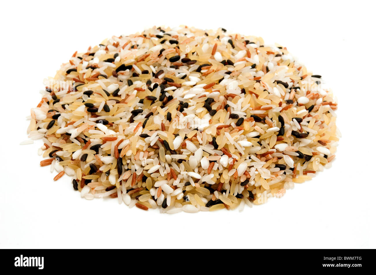 Mixed rice on a white background - Stock Image