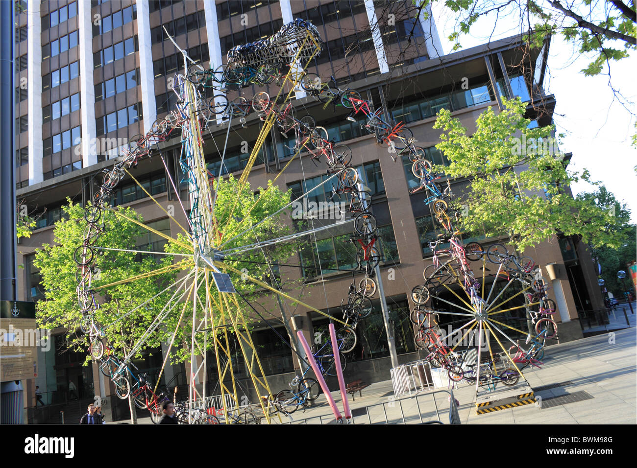 The Bike Bike giant penny farthing sculpture made from recycled bicycles, Sydney, New South Wales, NSW, Australia, - Stock Image
