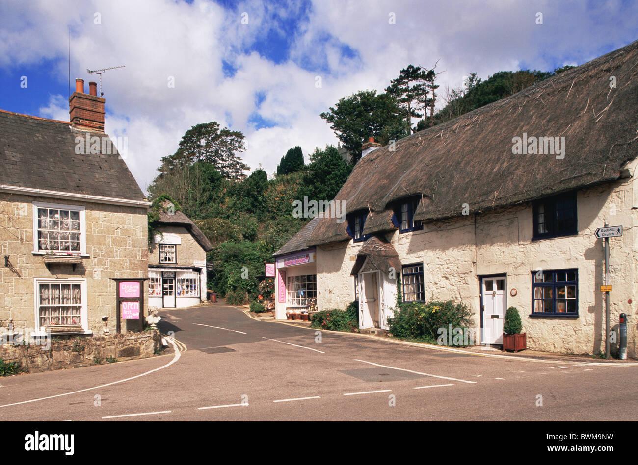 UK England Europe Hampshire Isle of Wight Godshill Village Godshill Village Thatched Cottage Thatched Cottage - Stock Image