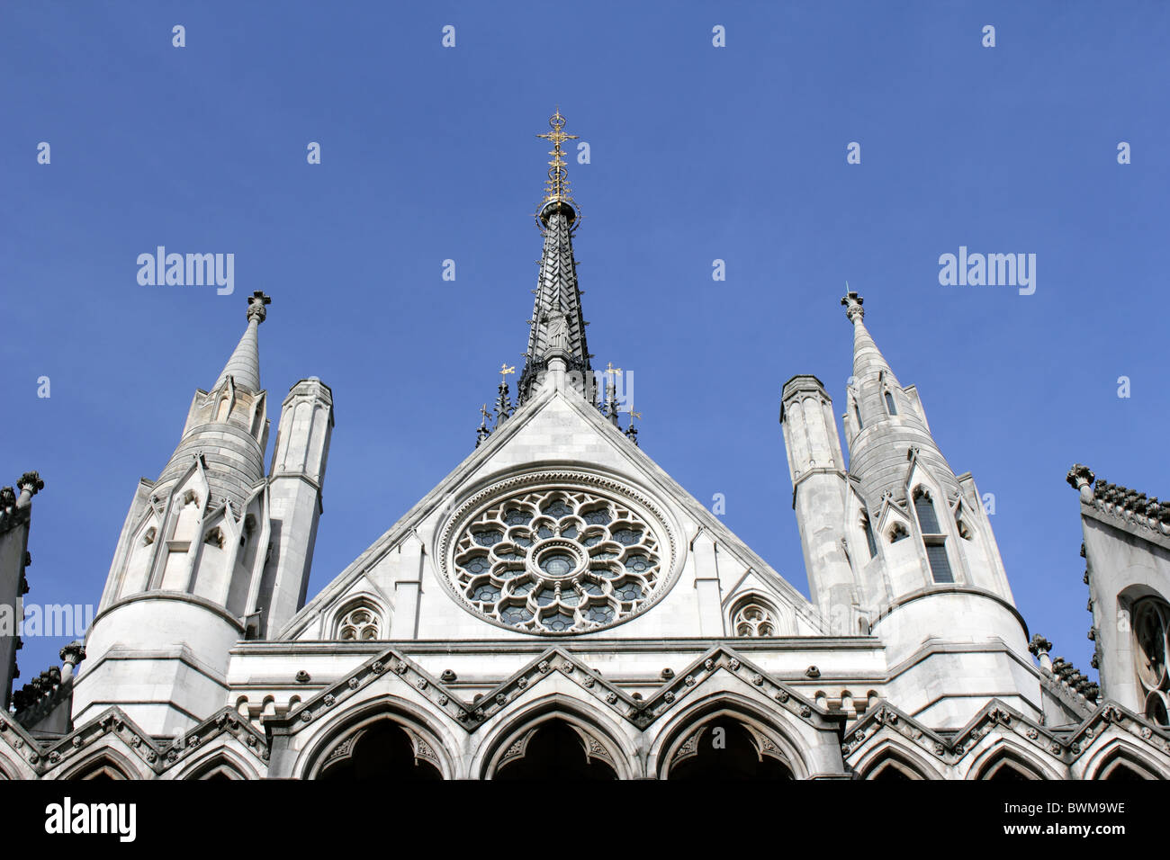 The Royal Courts of Justice, London, England, UK. Designed by George Edmund Street and opened by Queen Victoria, Stock Photo