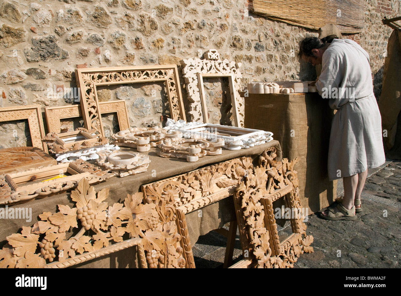 Hand carved wooden picture frames for sale at the Medieval Festival ...