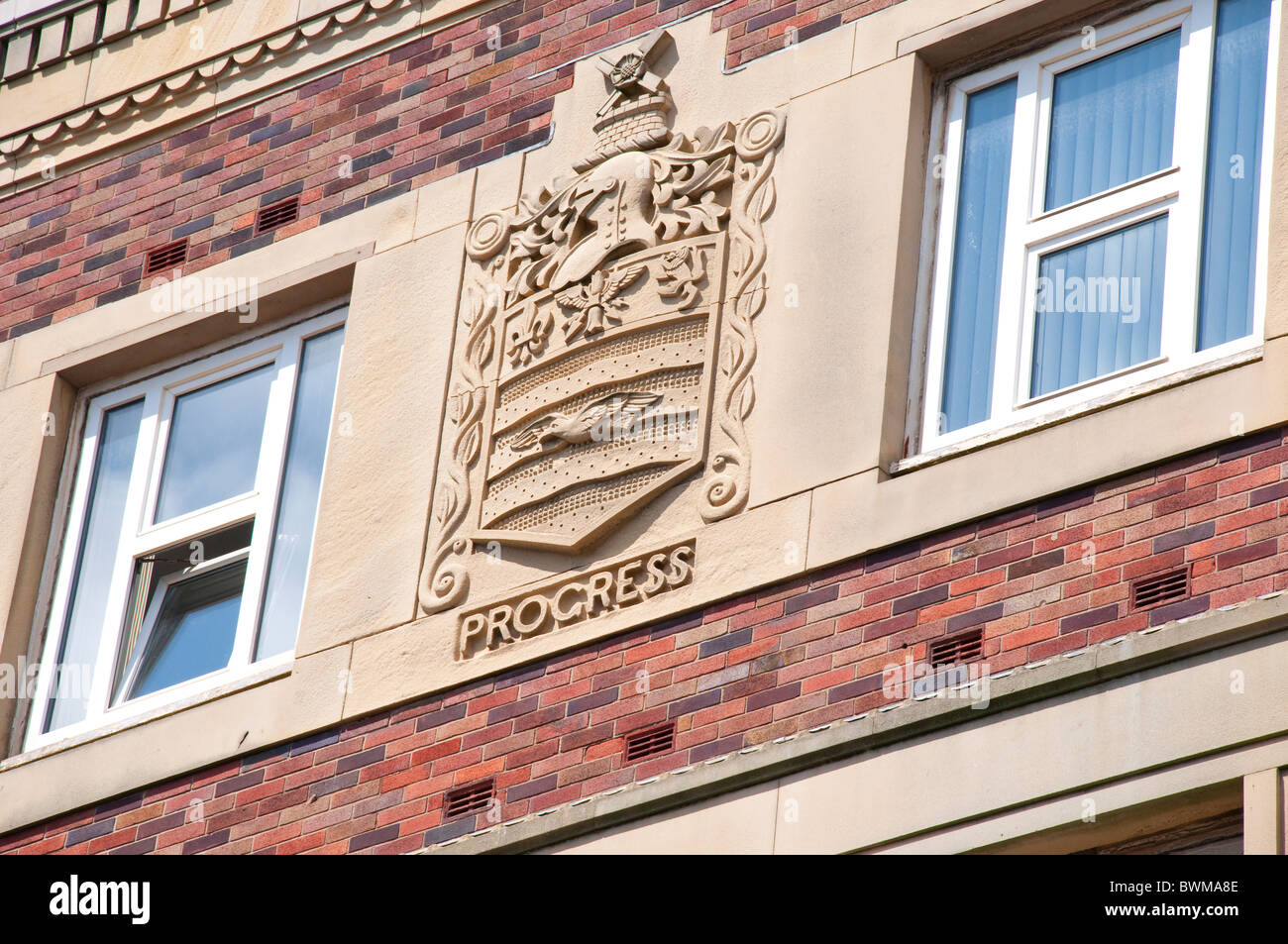 Carving on Art Deco building in Blackpool on the coast of Lancashire in Northern England - Stock Image