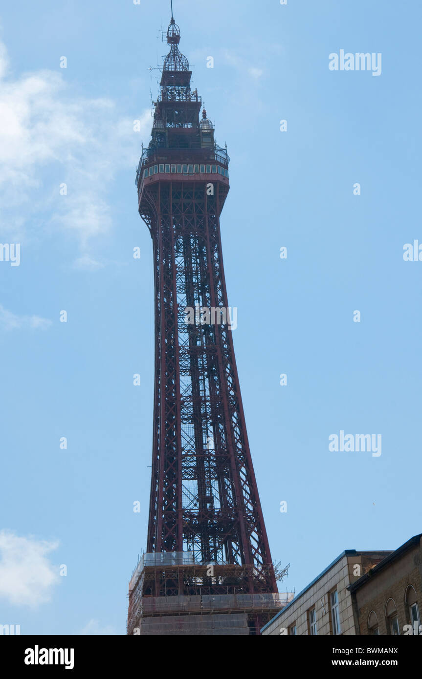 The Famous Tower in Blackpool on the coast of Lancashire in Northern England - Stock Image