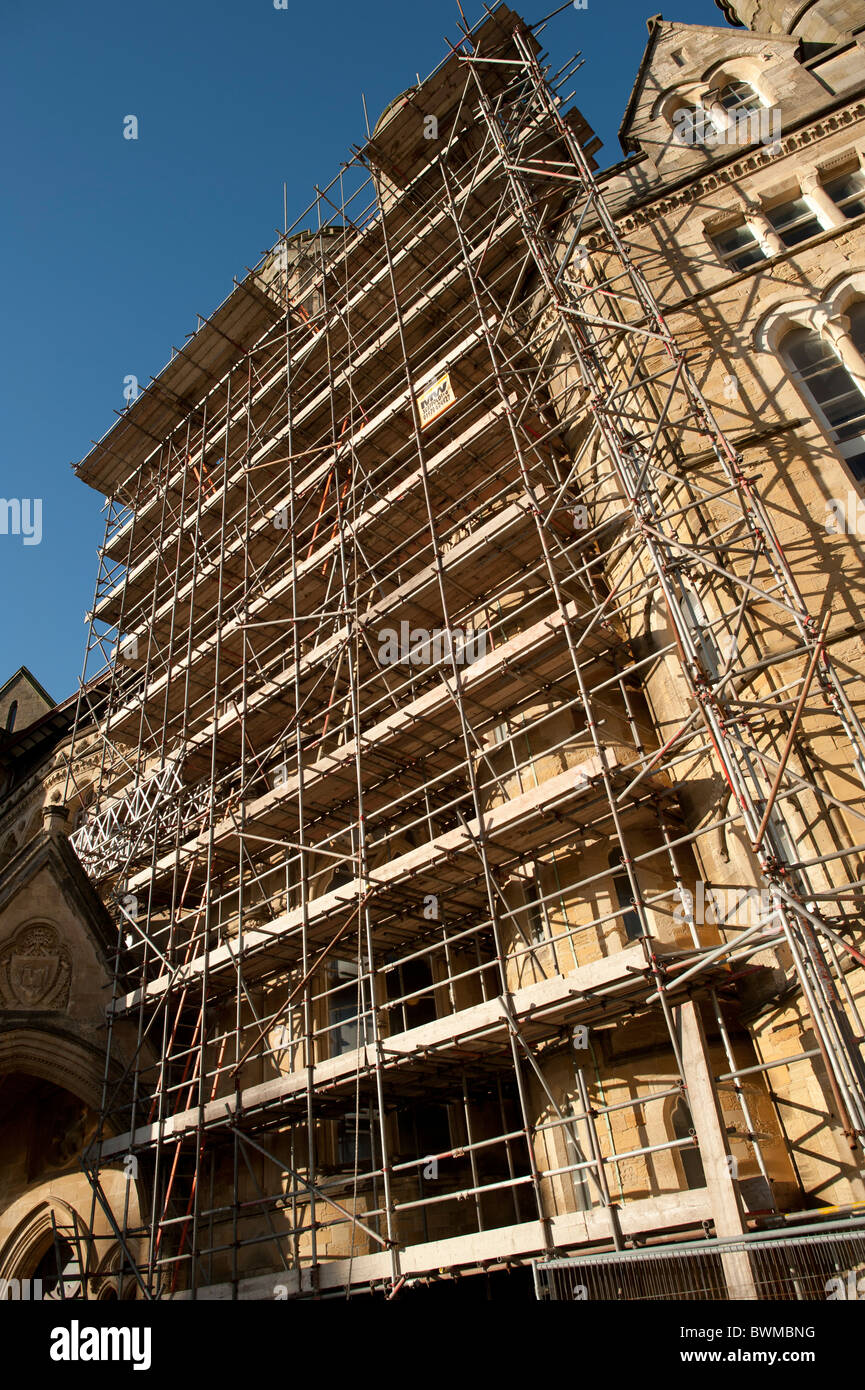 The Old College Aberystwyth University shrouded in scaffolding, Wales UK - Stock Image
