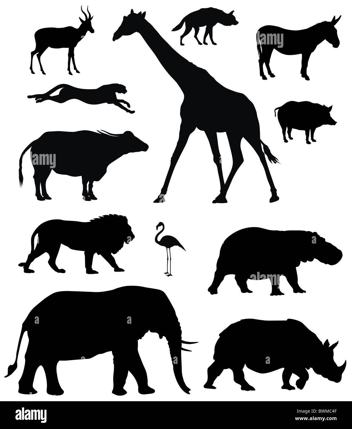 Illustration of African animal silhouettes - Stock Image