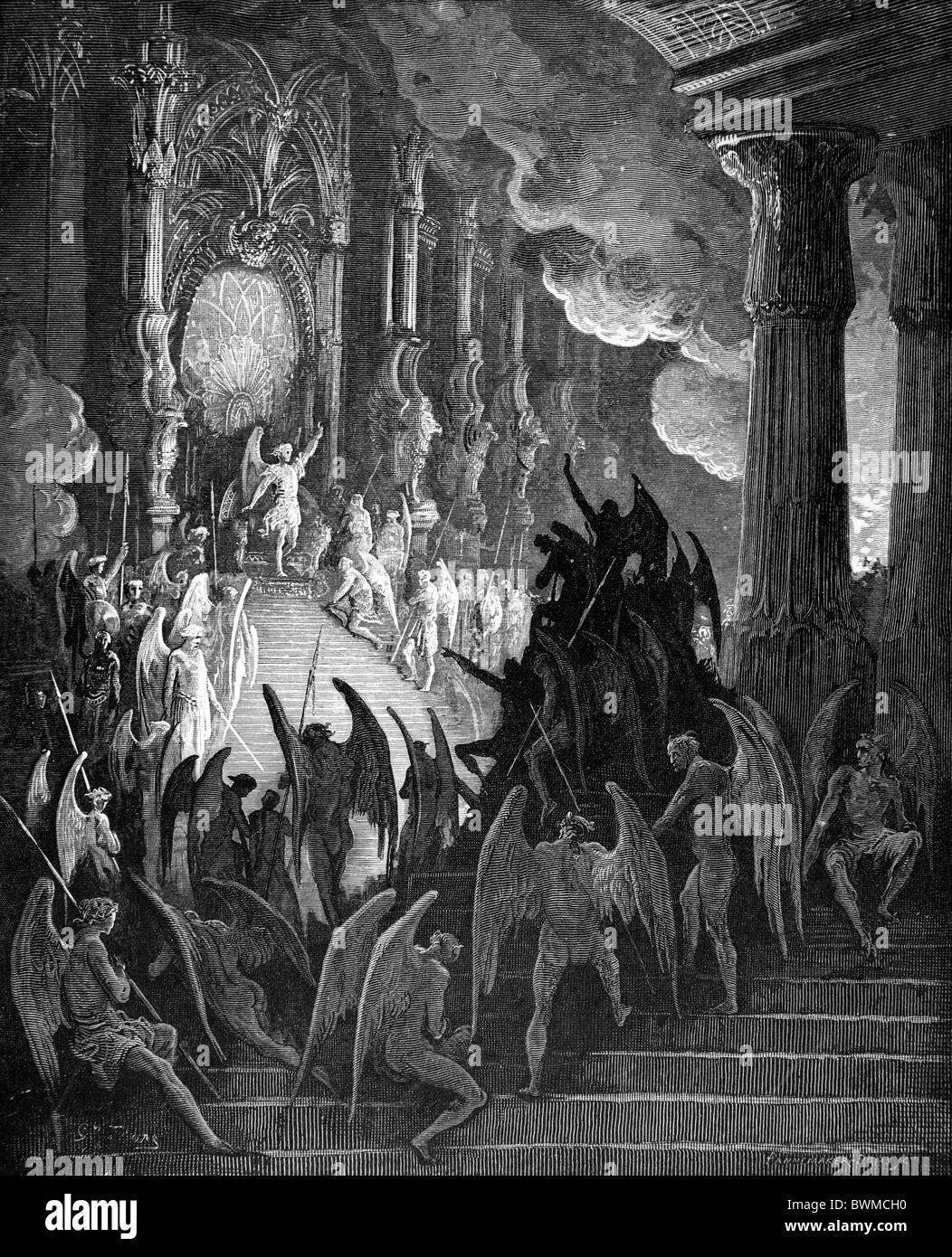 Gustave Doré; Black and White Engraving; Satan in Council from John Milton's Paradise Lost - Stock Image