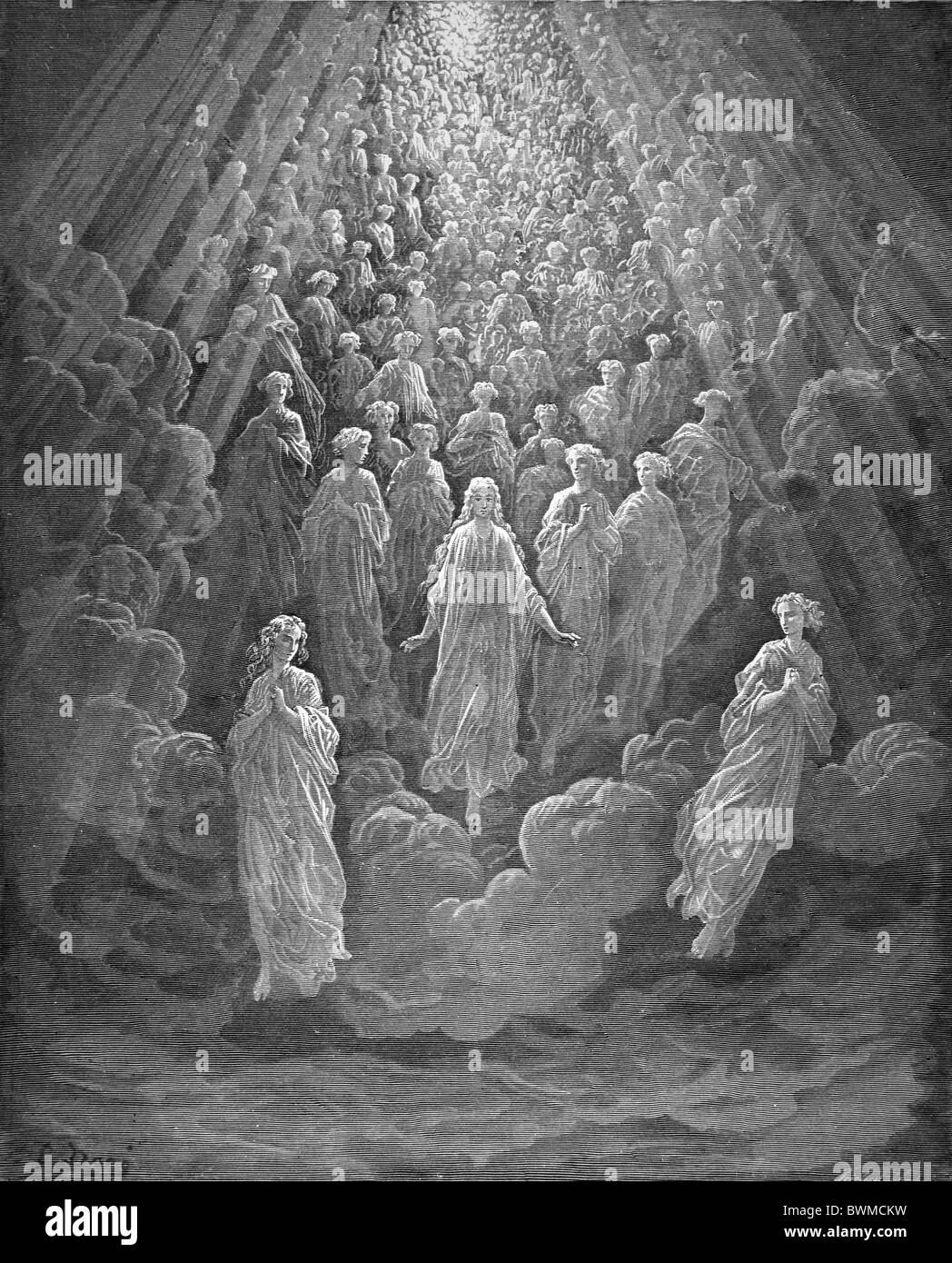 Gustave Doré; Black and White Engraving; The Angels in the Planet Mercury from Dante's Devine Comedy - Stock Image