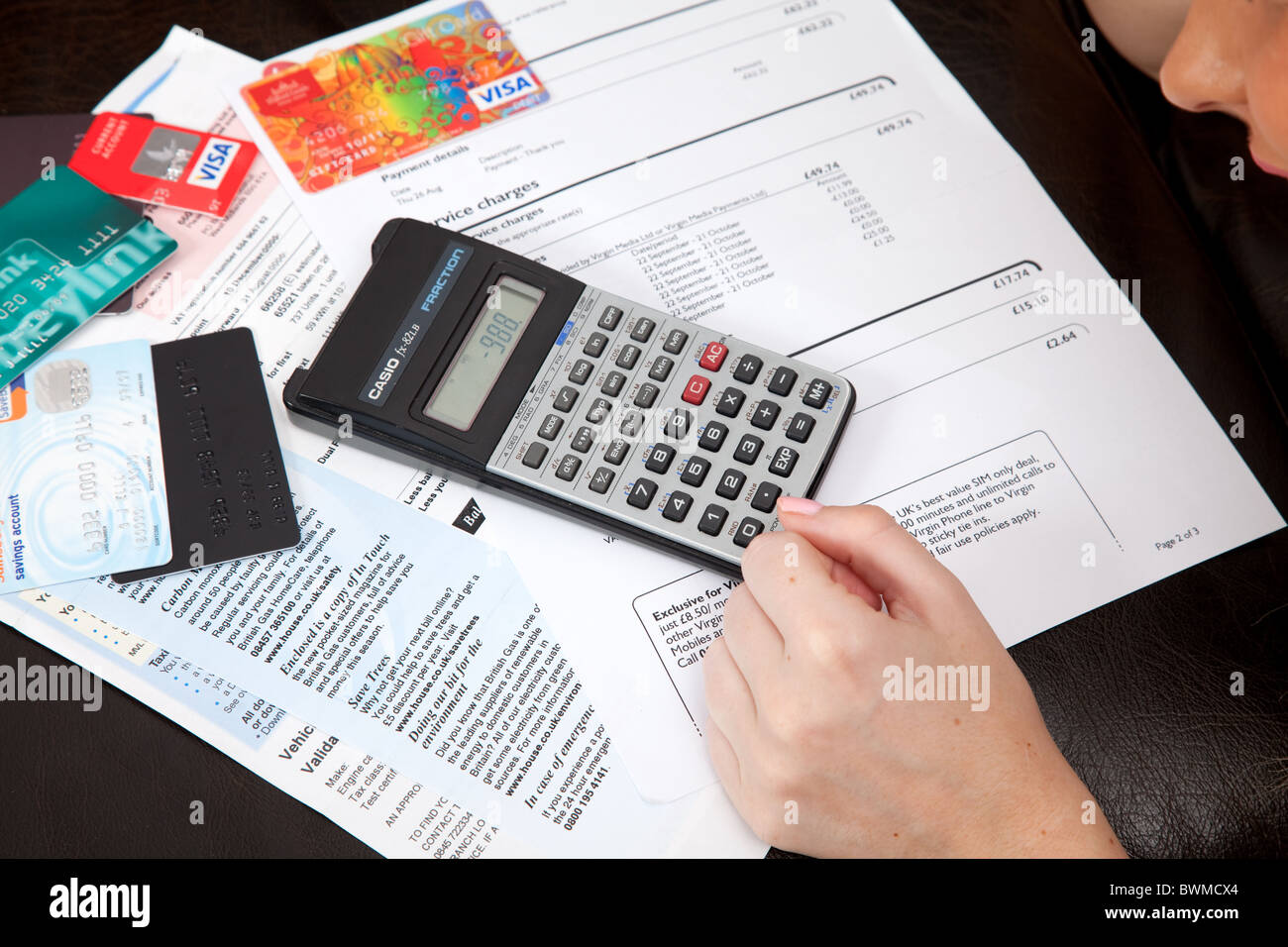 Photograph showing being in debt. - Stock Image
