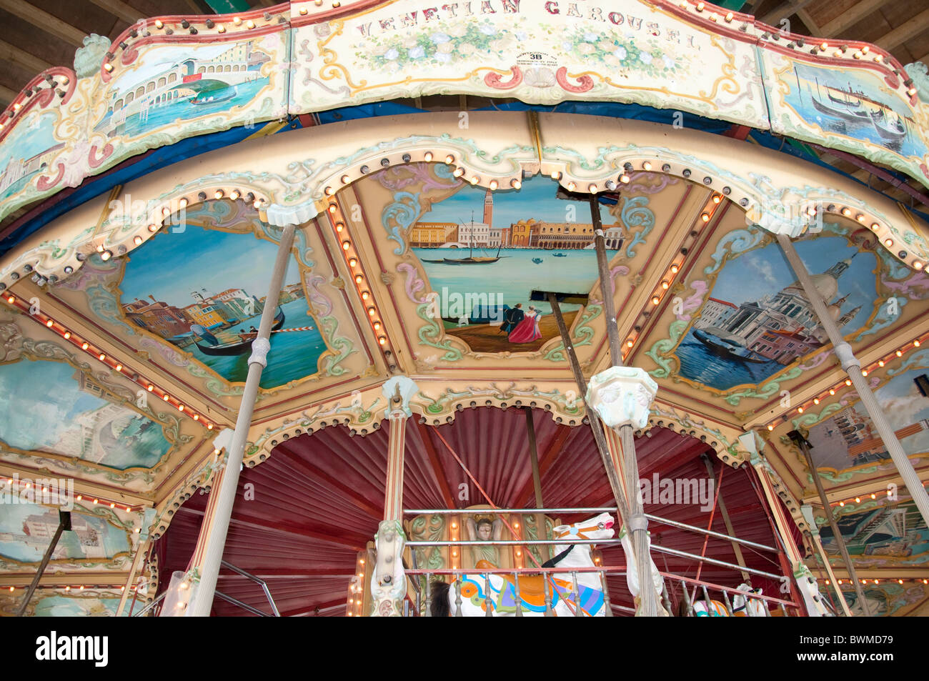 The carousel of the Central Pier in Blackpool on the coast of Lancashire in Northern England - Stock Image
