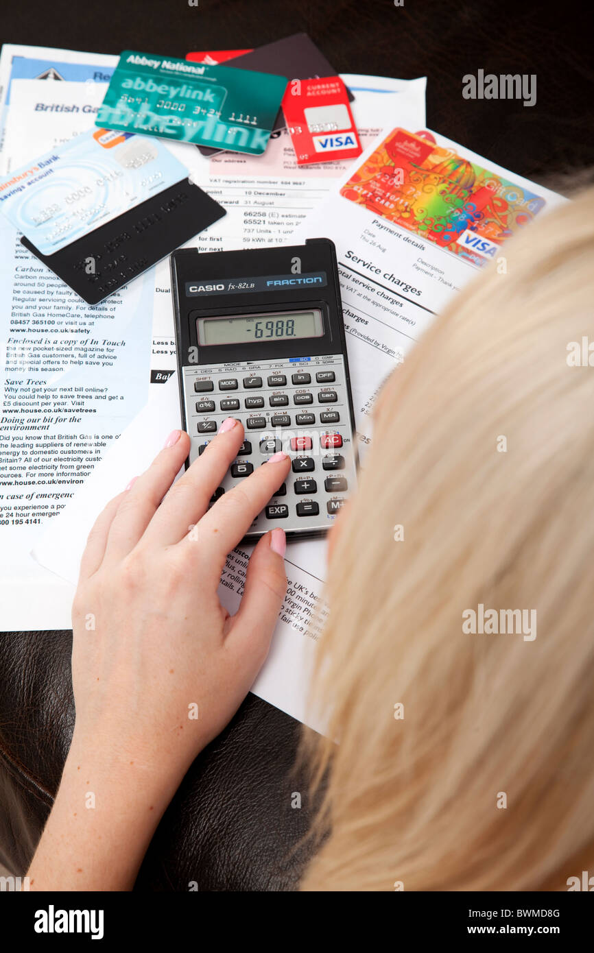 Young woman in debt. - Stock Image