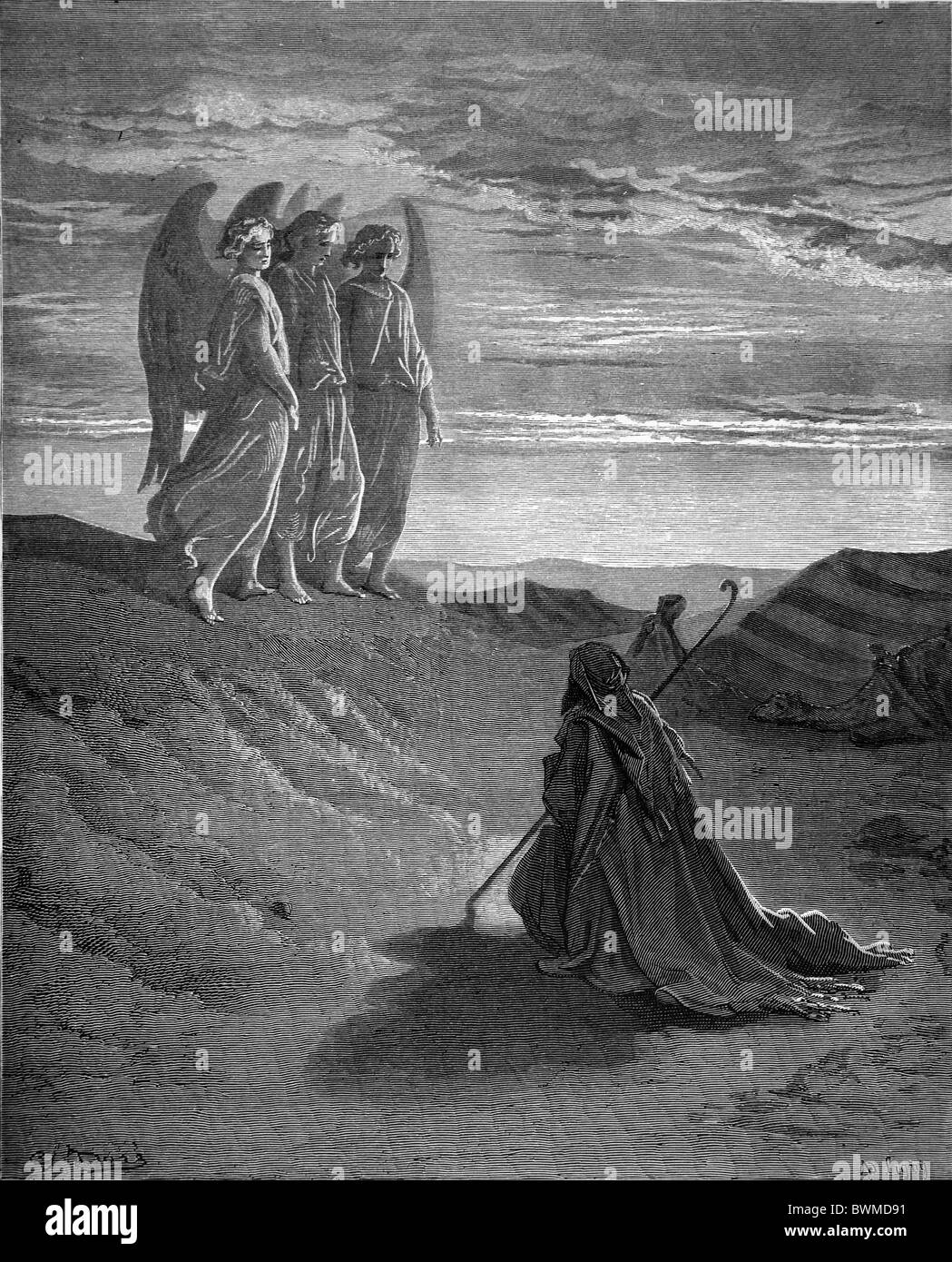Gustave Doré; Abraham and the Three Angels; Black and White Engraving - Stock Image