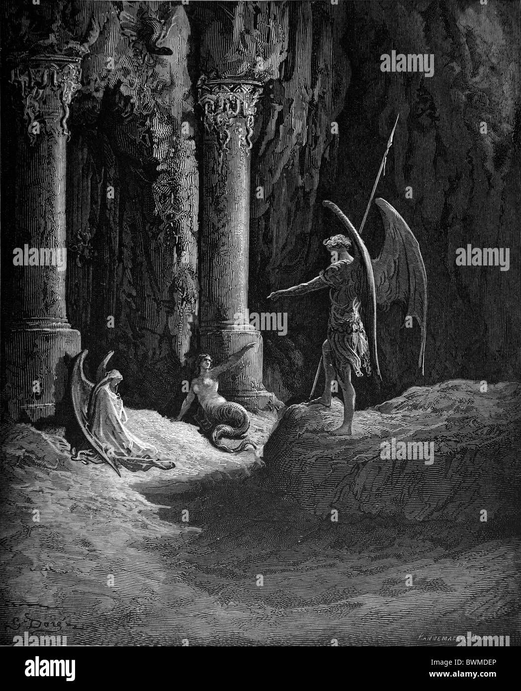 Gustave Doré; Satan at the Gates of Hell from Milton's Paradise Lost; Black and White Engraving; - Stock Image