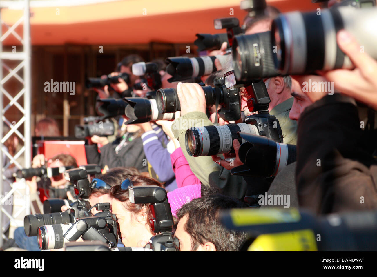 group of photographers photographing film stars at Rome International film festival Stock Photo