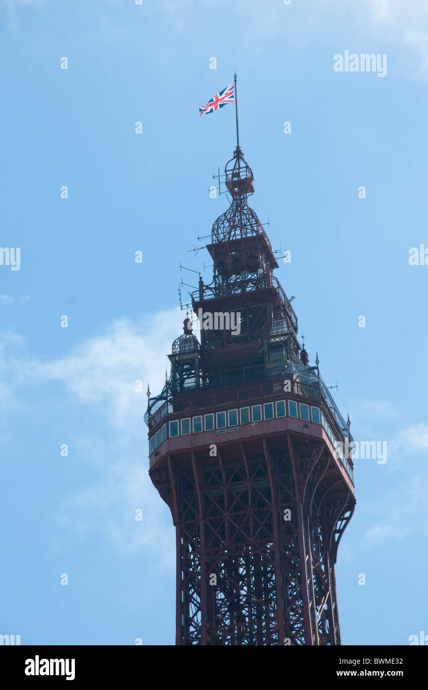 Top of the famous Tower at Blackpool on the coast of Lancashire in Northern England - Stock Image