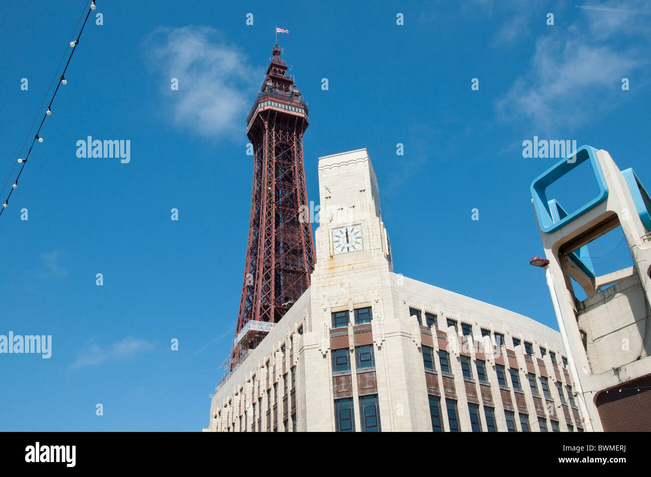 The Famous Tower Complex in Blackpool on the coast of Lancashire in Northern England - Stock Image