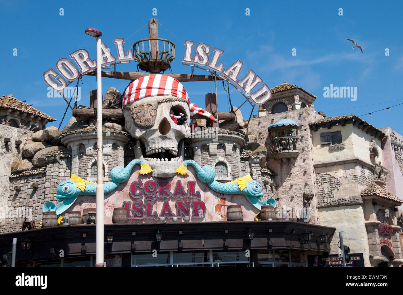 The Coral Island Complex on the Golden Mile in Blackpool on the coast of Lancashire in Northern England - Stock Image