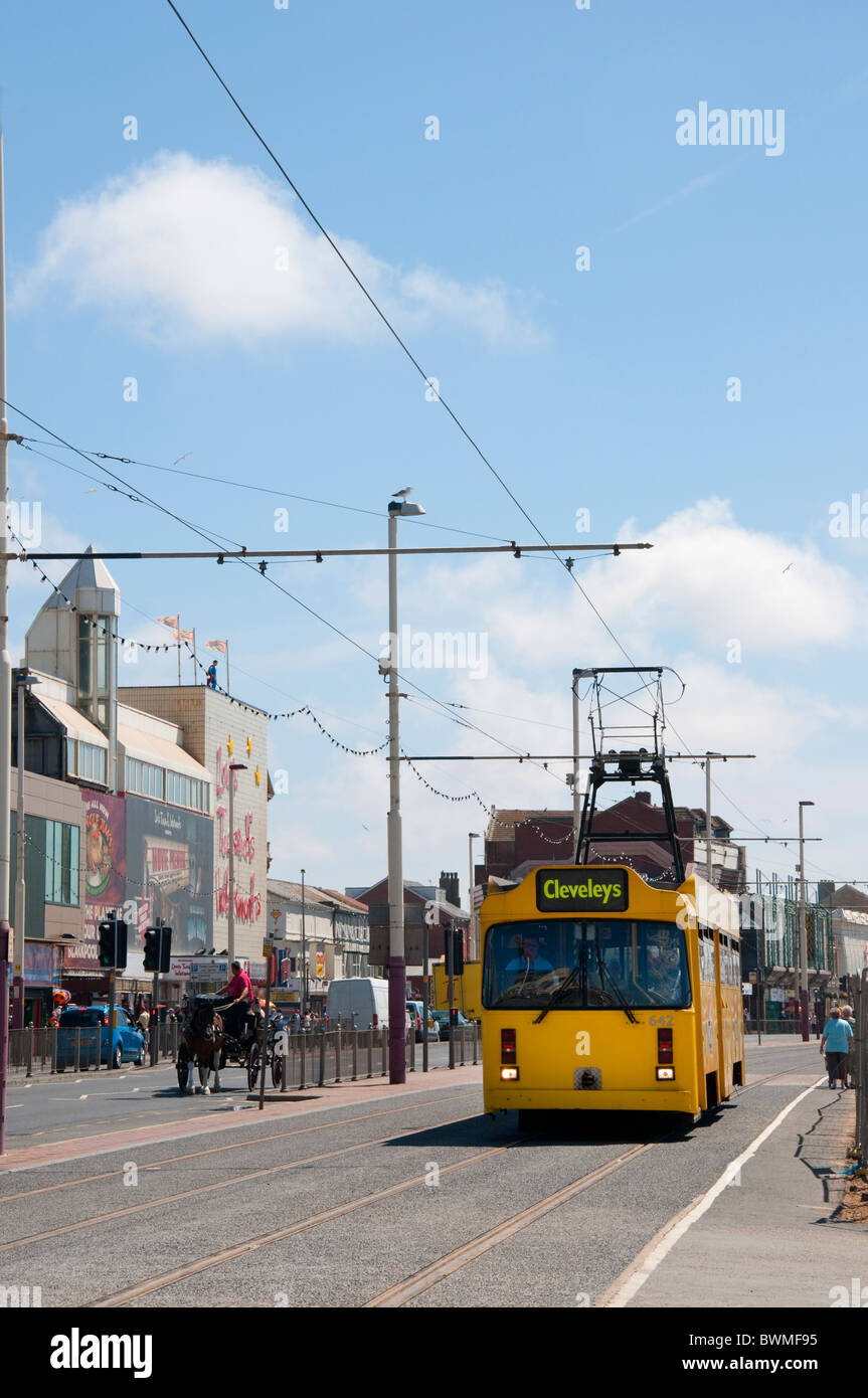 The  Famous Trams of Blackpool on the coast of Lancashire in Northern England - Stock Image