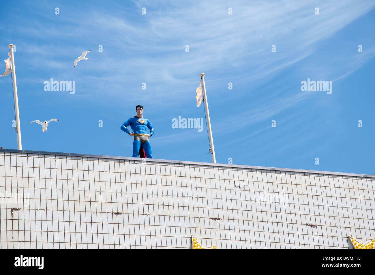 Superman in Blackpool on the coast of Lancashire in Northern England - Stock Image