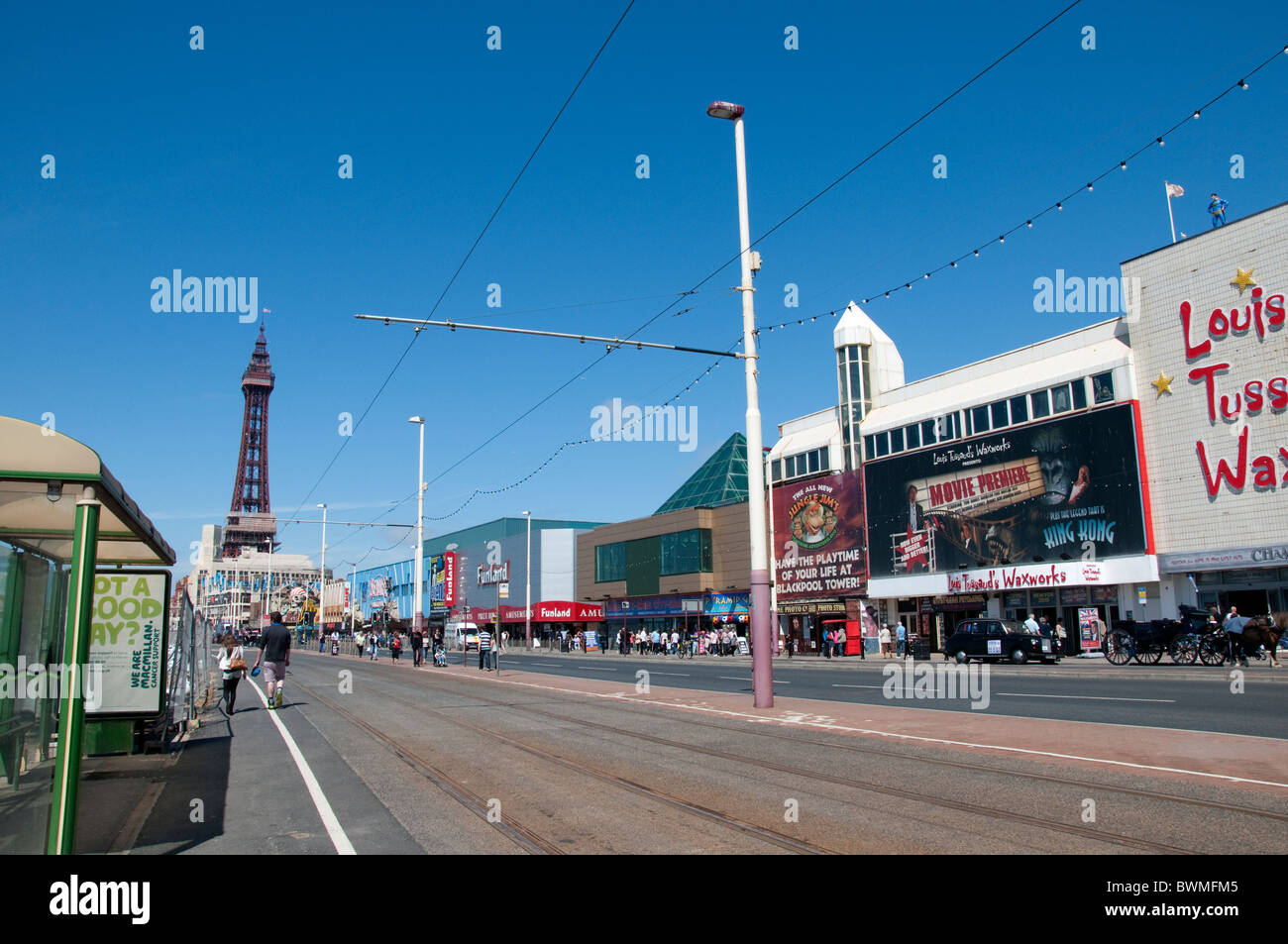 The promenade and tram tracks in Blackpool on the coast of Lancashire in Northern England - Stock Image