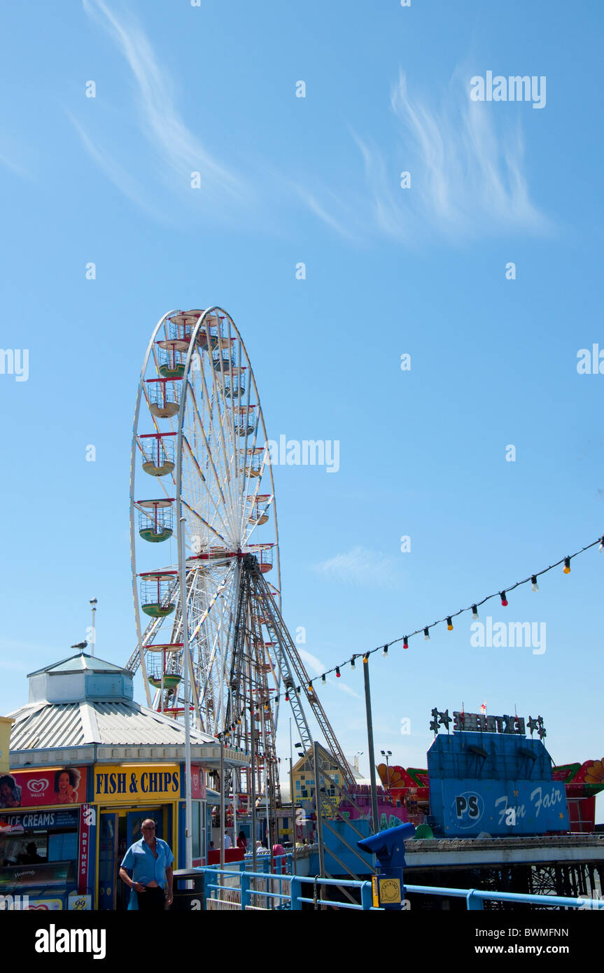 The Ferris Wheel on the central Pier in Blackpool on the coast of Lancashire in Northern England - Stock Image