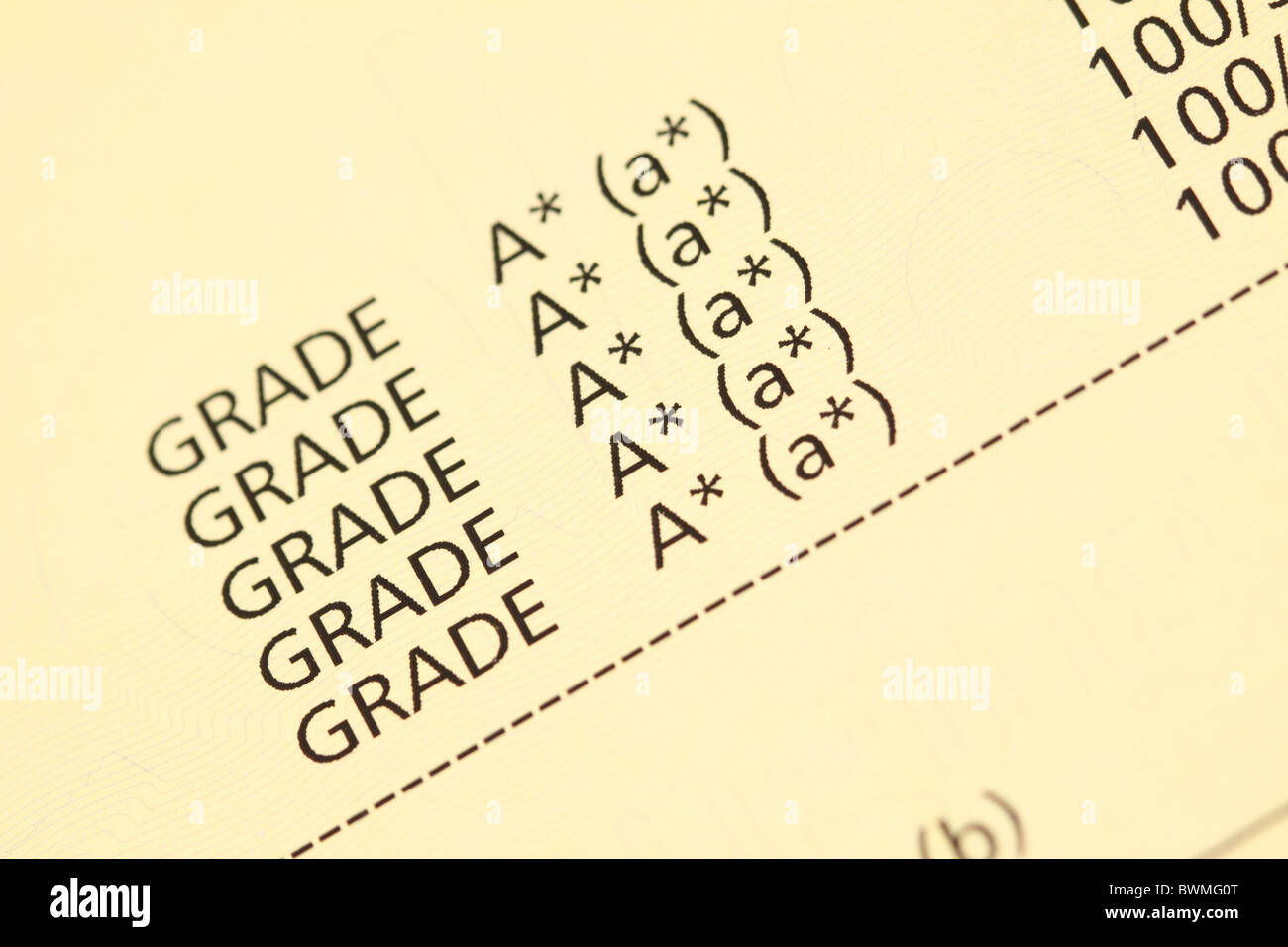 Exam certificate Grade A star A* GCSE result mark - Stock Image