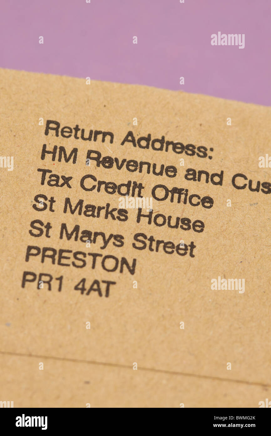 Tax Credit Office TCO HMRC return address on plain brown envelope Stock Photo