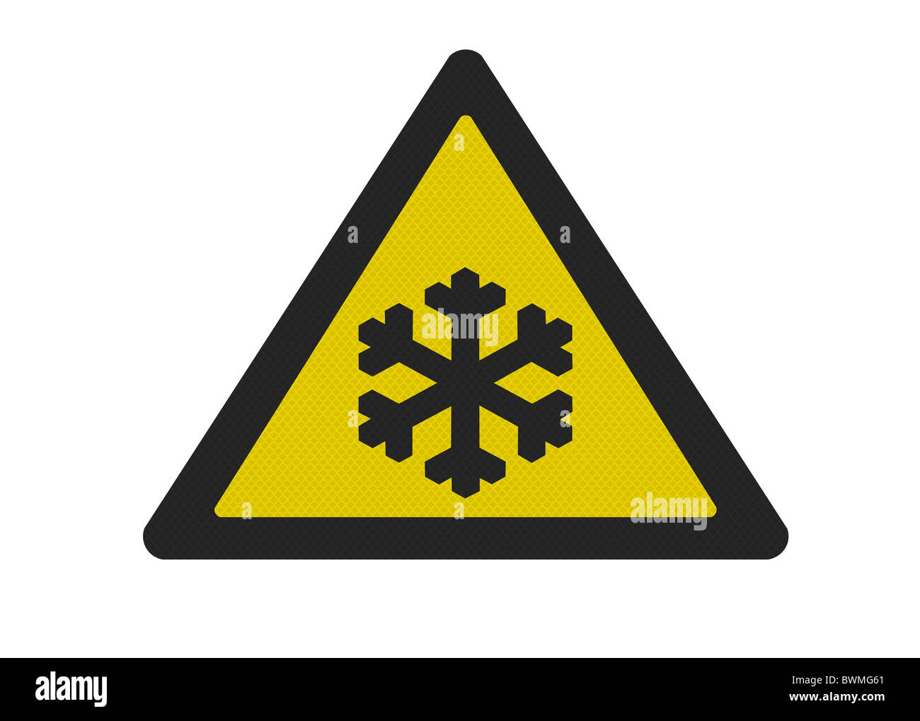 Photo realistic reflective metallic 'risk of ice' sign, isolated on a pure white background. - Stock Image