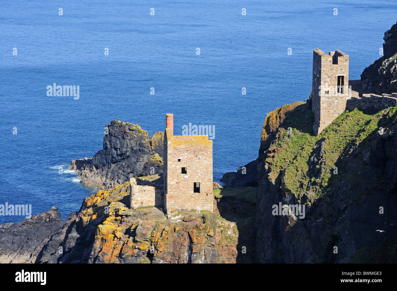 The crowns tin mines at Botallack in Cornwall, Uk - Stock Image