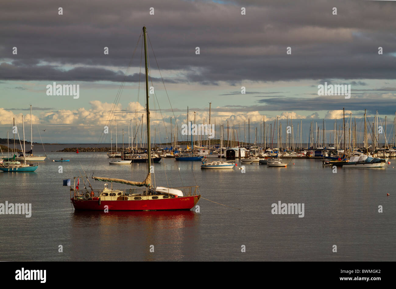 Anchored sailing boats in Oak Bay, Victoria, British Columbia, Canada - Stock Image