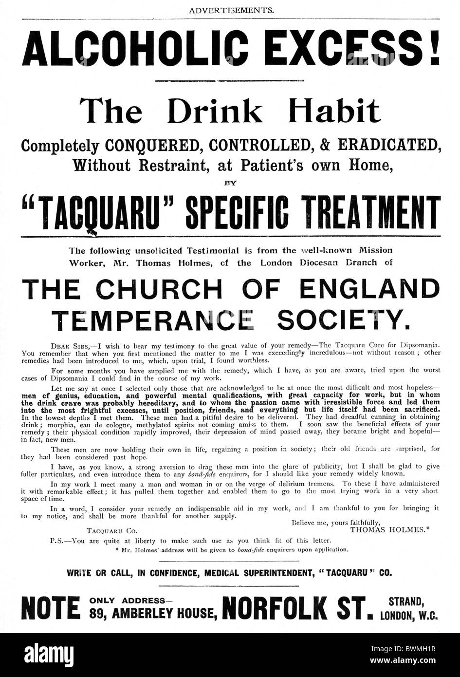 Tacquaru Treatment, 1901 advert for a cure for Alcoholic Excess, The Drink Habit Completely Conquered Controlled - Stock Image