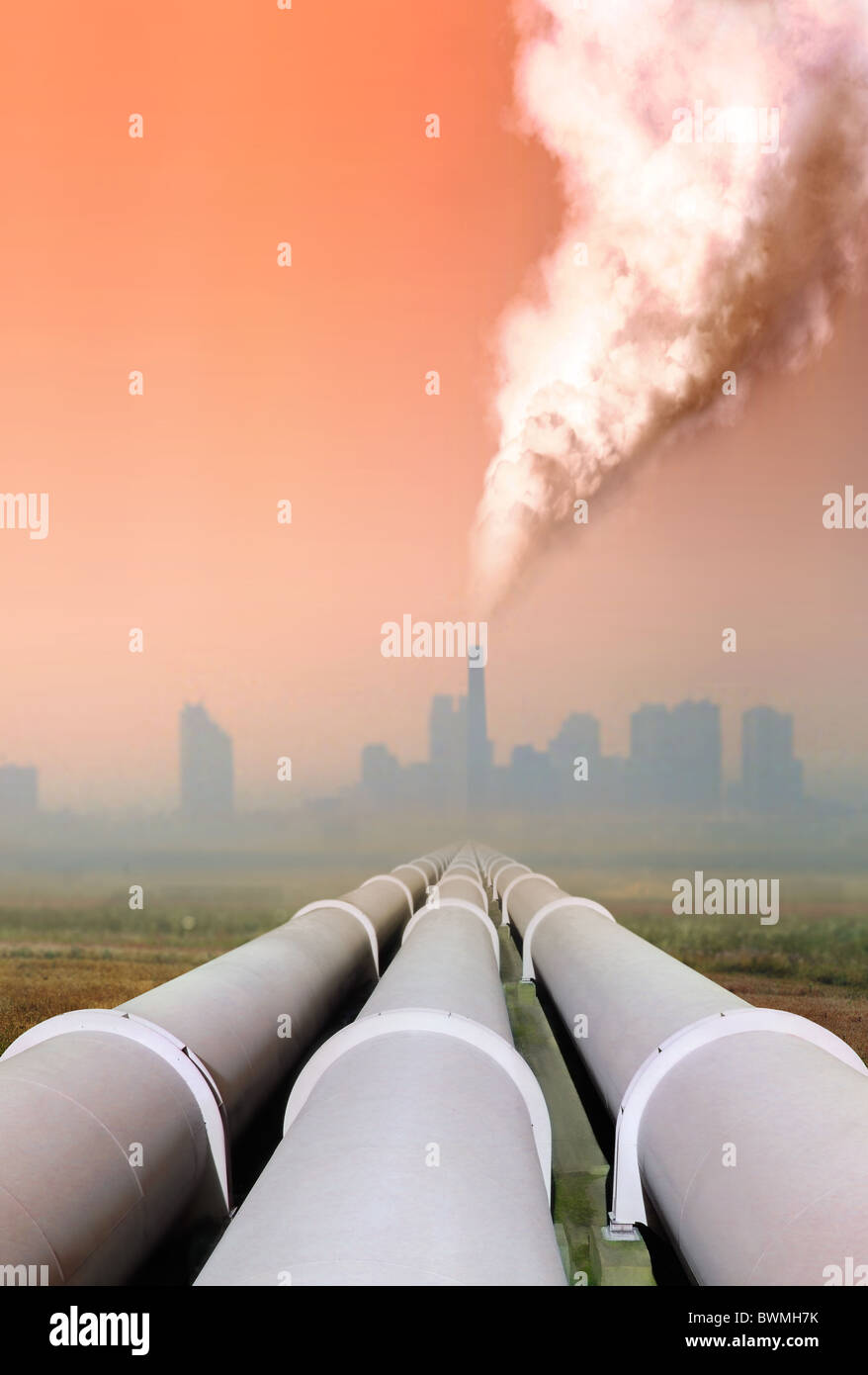 gas pipe line and atmospheric air pollution from factory - Stock Image