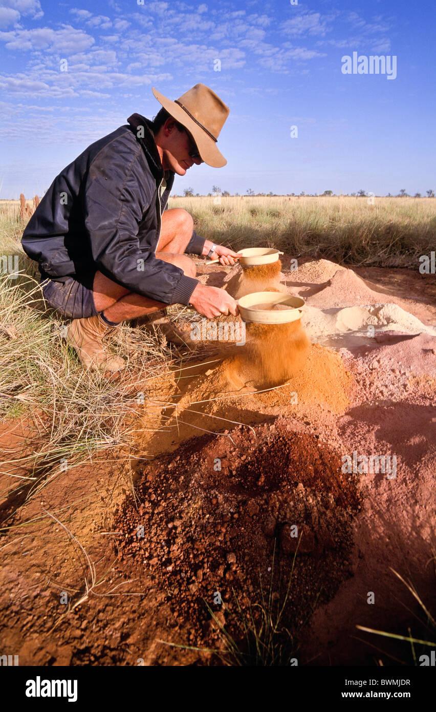 Geologist mineral exploration, Western Australia - Stock Image
