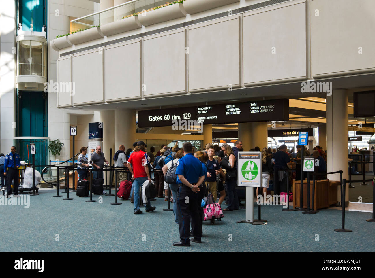 Entrance to the security checkpoint at Orlando International Airport, Florida, USA - Stock Image