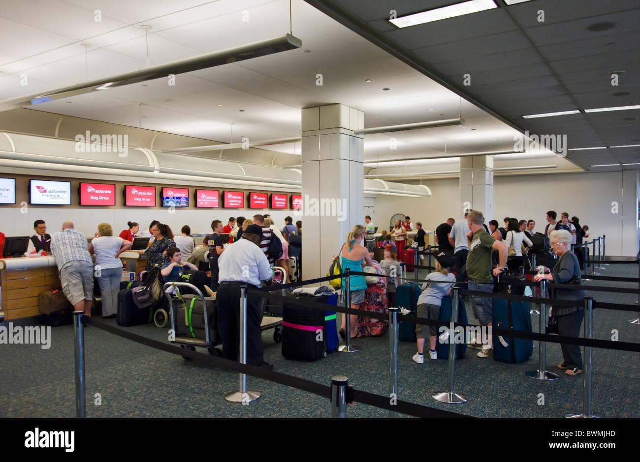 Virgin Atlantic Airways check-in desks at Orlando International Airport, Florida, USA - Stock Image