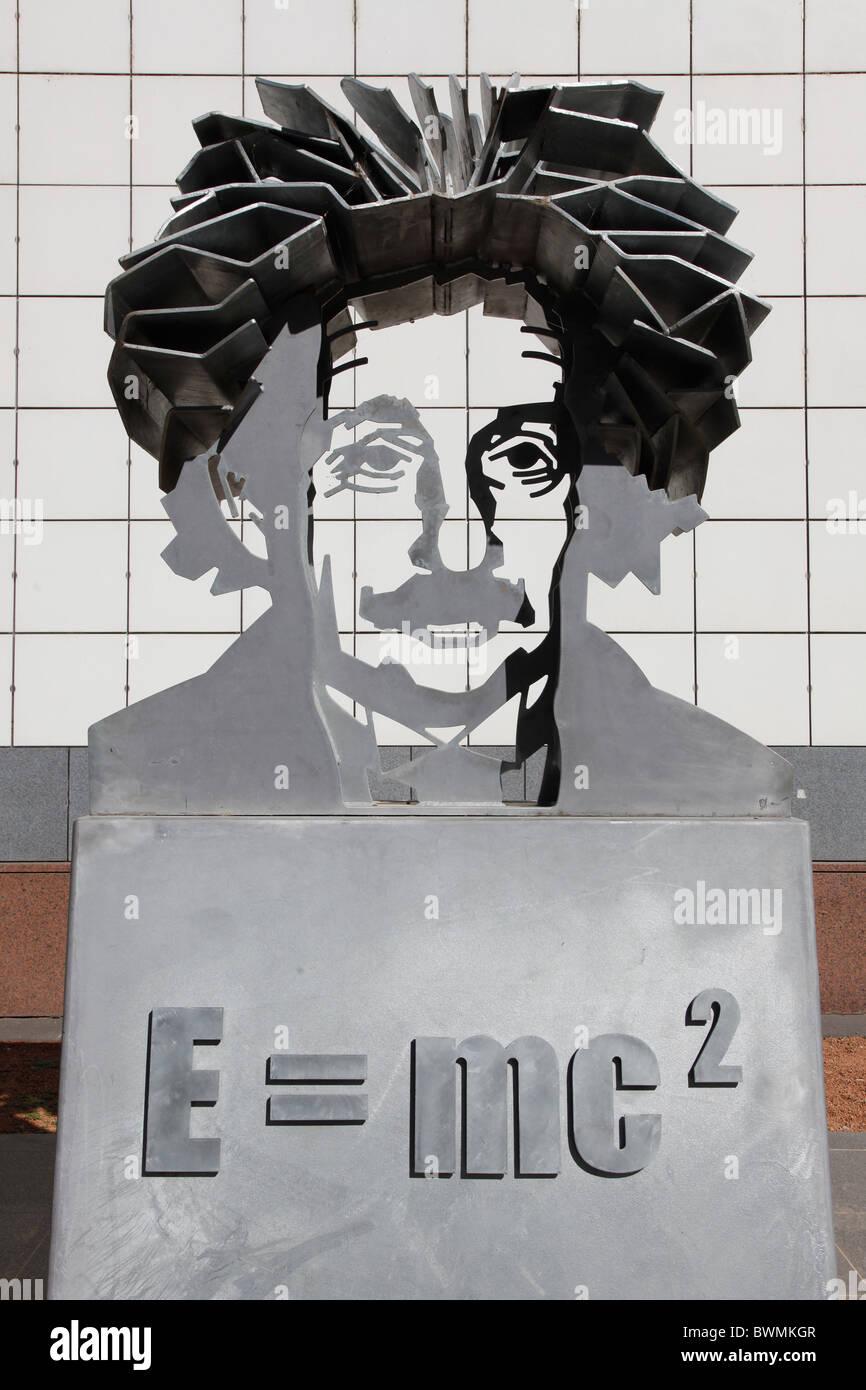 Questacon Einstein Sculpture E = mc2 equation,Canberra,ACT,Australia Stock Photo