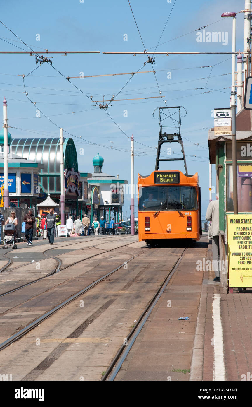 The Famous Trams on the promenade in Blackpool on the coast of Lancashire in Northern England - Stock Image
