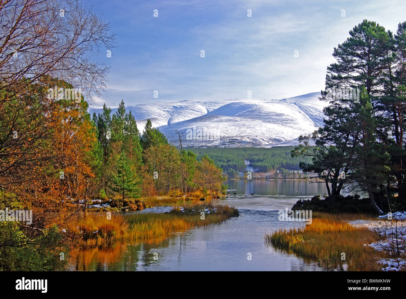 UK Scotland Highland Inverness-shire Loch Morlich and the Cairngorm Mountains in The National Park - Stock Image
