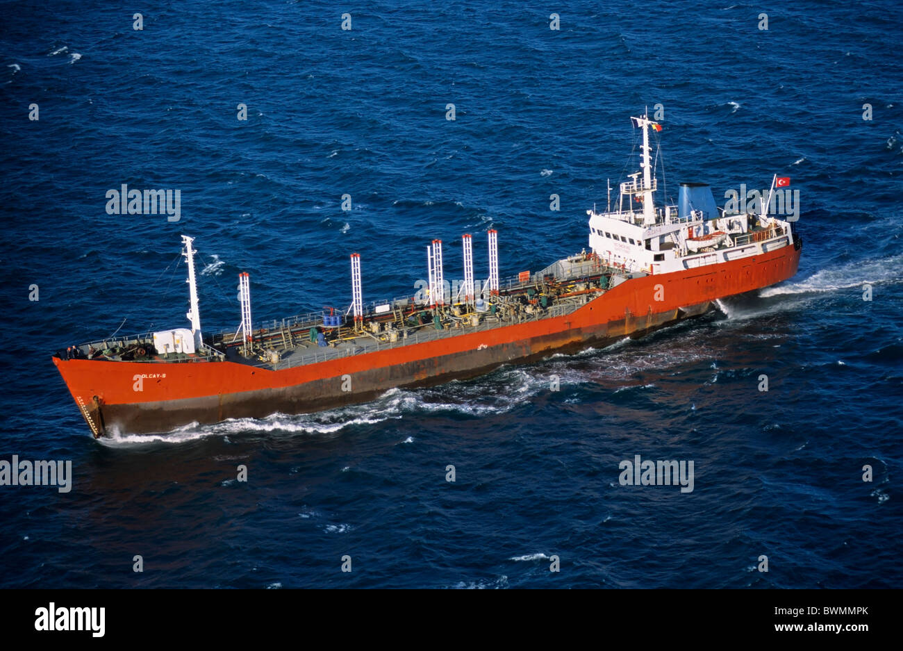 Oil tanker at sea - Stock Image