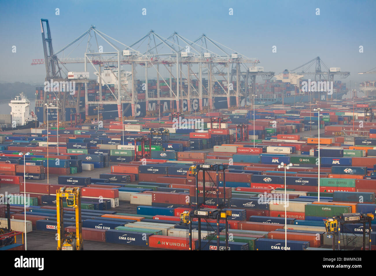 Southampton Docks and Container terminal - Stock Image