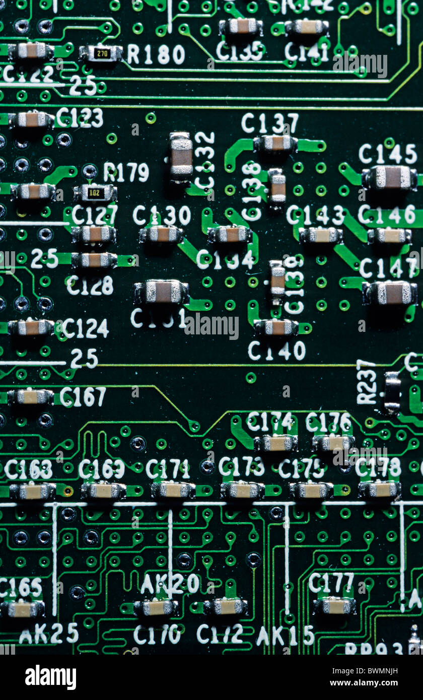Close Up View Of An Integrated Circuit Board From A Computer Stock Photo Closeup