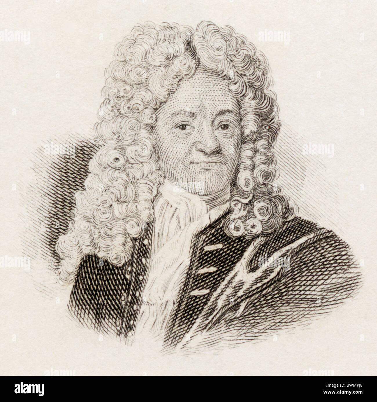 Johann Albert Fabricius, 1668 to 1736. German classical scholar and bibliographer. - Stock Image