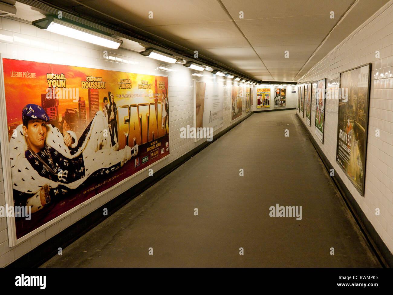 Empty Metro walkway Paris - Stock Image