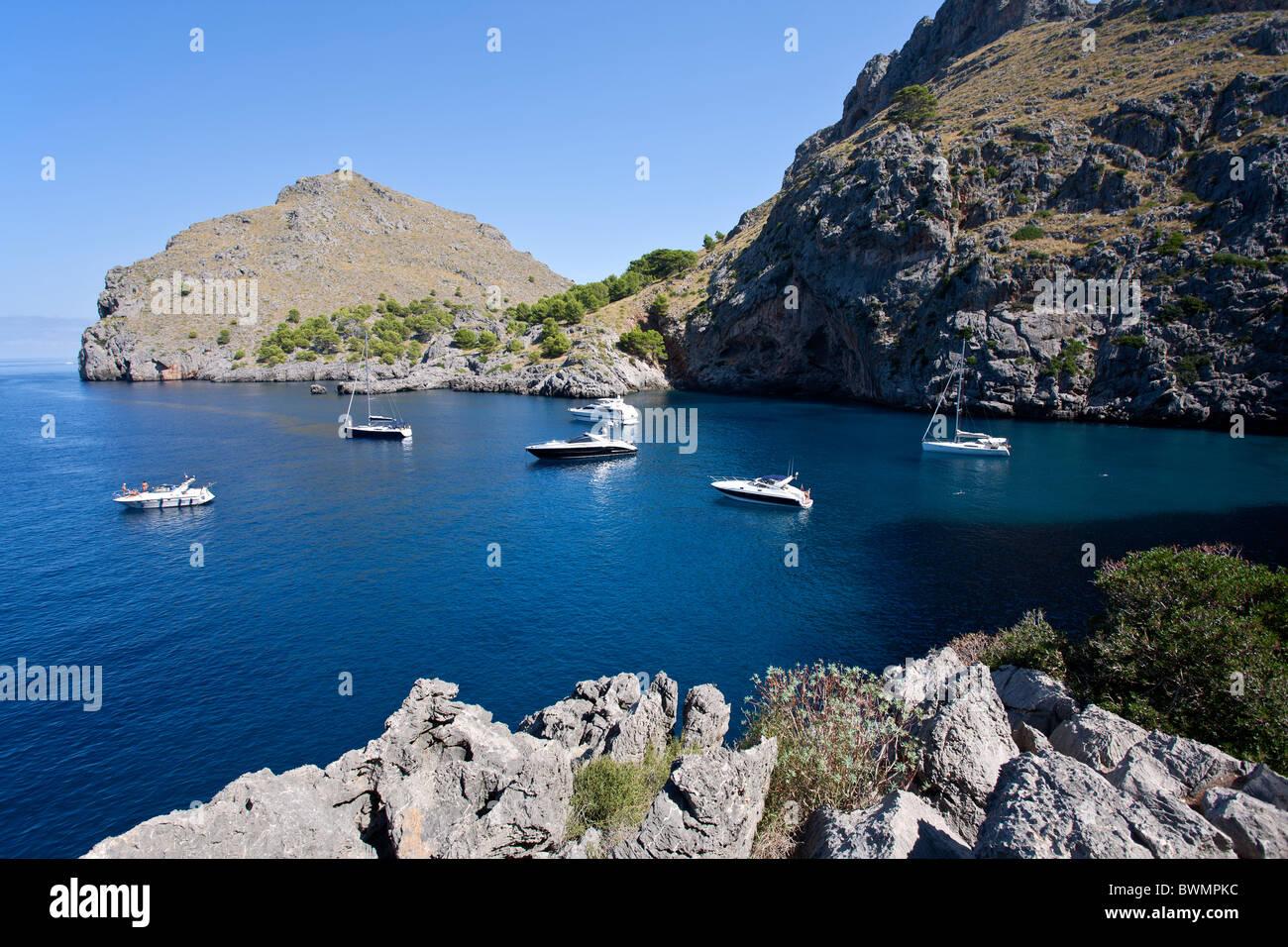 Yachts and sailing boats anchored. Sa Calobra. North of Mallorca Island. Spain - Stock Image