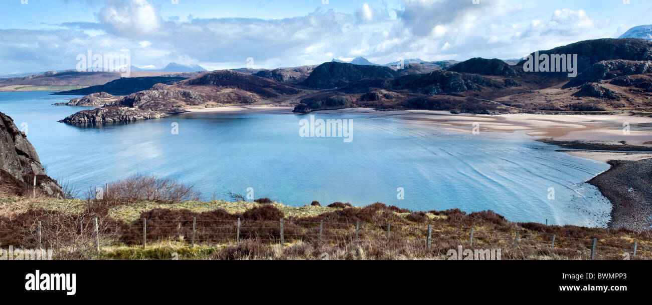 Panoramic of Gruinard bay near Laide, Wester Ross, Scotland on fine Spring day - Stock Image