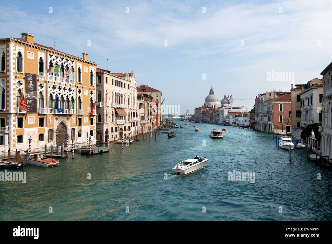 View from Accademia bridge to Canal Grande with Palazzis and church of Santa Maria della Salute, Venice 2010 - Stock Image