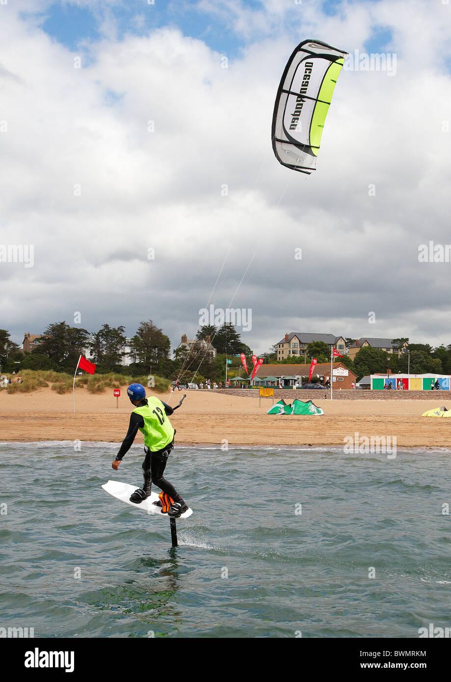 Kitesurfing on the river Exe estuary, Exmouth, Devon, England, UK - Stock Image