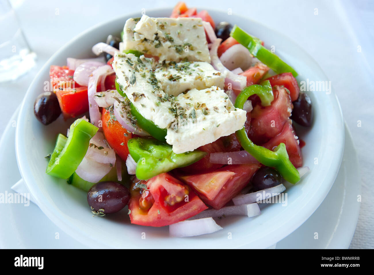 Greek Salad, Corfu, Greece - Stock Image