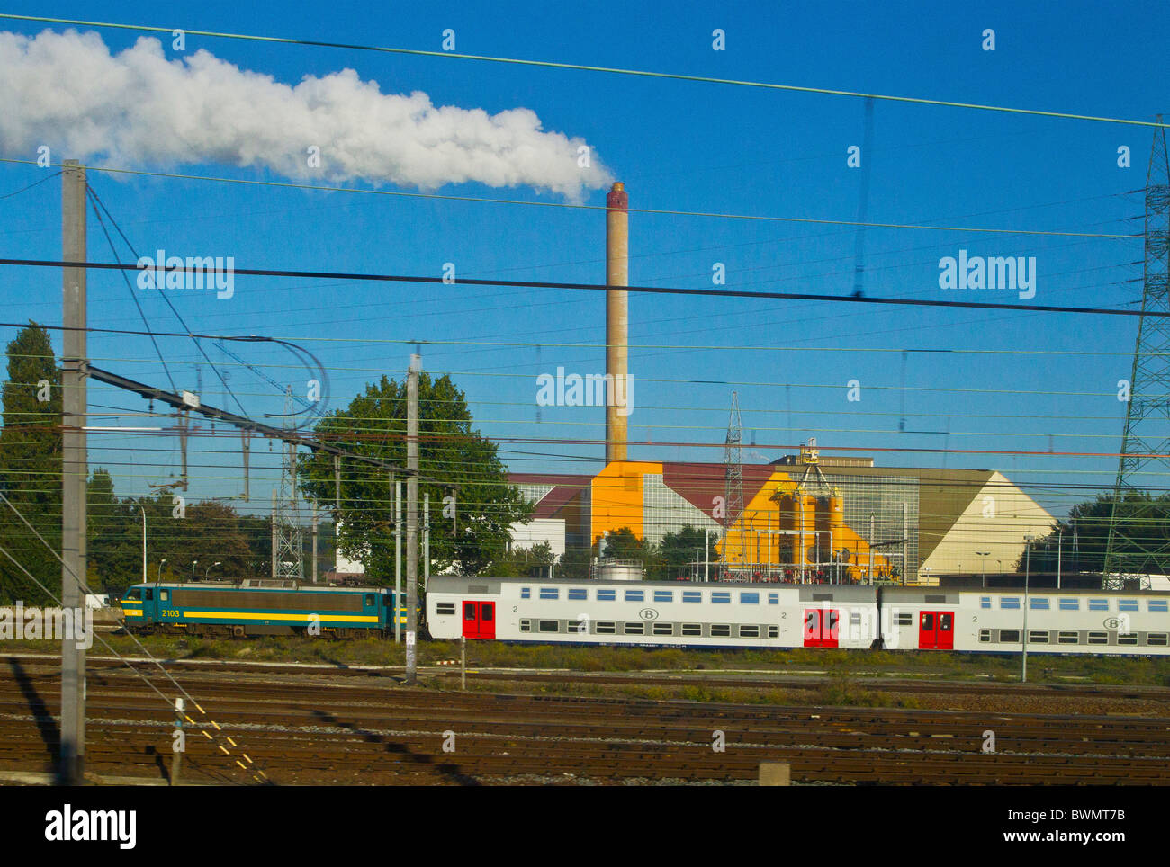 Train Power Station Electricity Electric Generation Generating Stock Powering A Transport Chimney Smoke Steam Railway Engine Carriage Rail