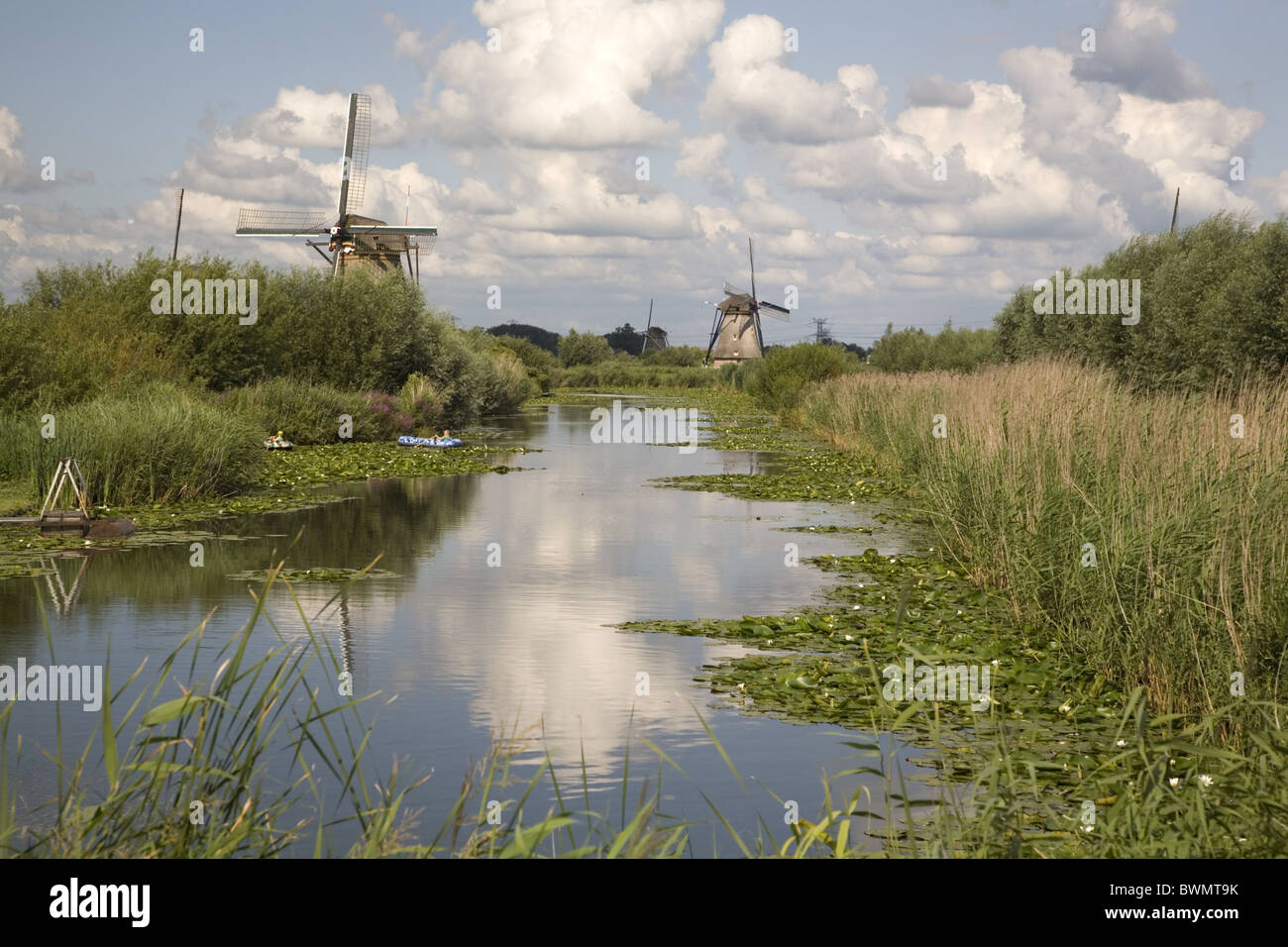 Windmills of the Unesco World Heritage Site Kinderdijk, Zuid-Holland (South-Holland), Netherlands - Stock Image